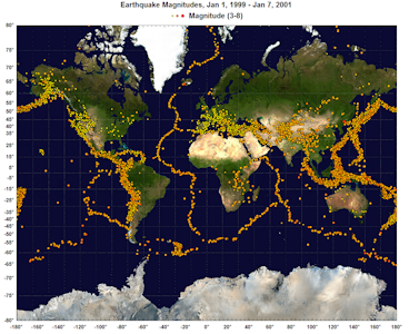 Global earthquakes with a background image of the Earth