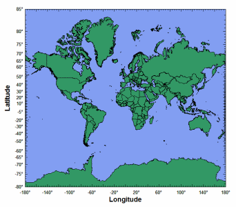 World map from ArcView Shapefile